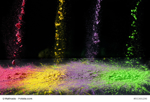 Several bright colors of dry holi paint